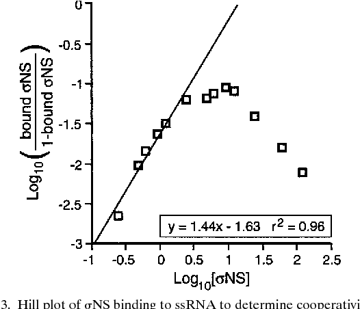 FIG. 3. Hill plot of sNS binding to ssRNA to determine cooperativity. A gel shift assay with 0.24 pmol of radiolabeled 59S4-121 RNA was performed as described for Fig. 2A except that the concentrations of purified sNS ranged from 0.24 to 6 pmol. The amount of sNS bound at each concentration was calculated as described in Materials and Methods. Log10 (bound sNS/1 2 bound sNS) was plotted relative to log10 (sNS concentration), and a best-fit line was calculated for the linear portion of the graph (the equation and coefficient of determination for the line are shown in the box).