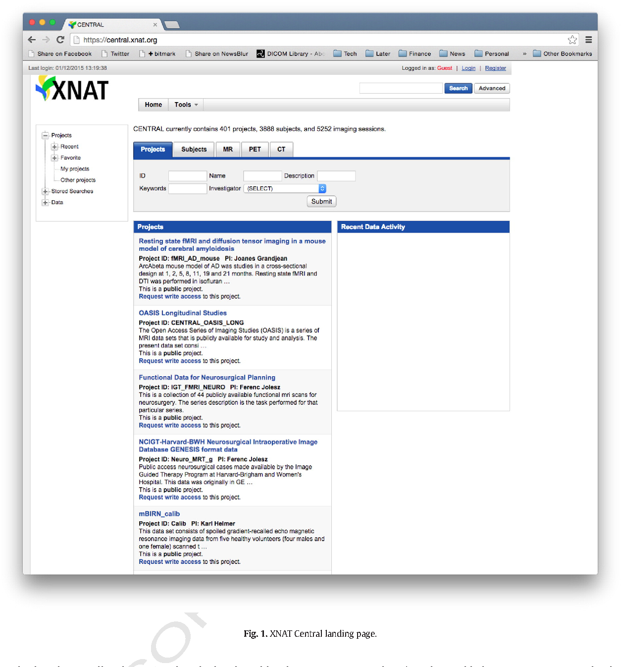 Figure 1 from XNAT Central: Open sourcing imaging research