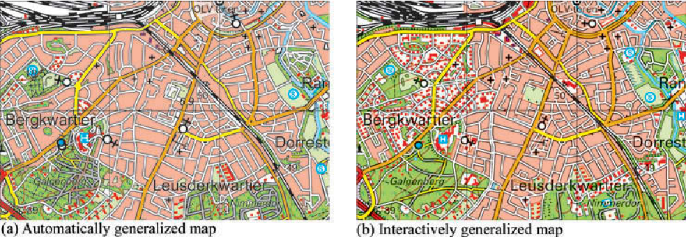 Figure 14. The difference between the interactive (b) and automated generalized map (a) for converting single houses into built-up areas.
