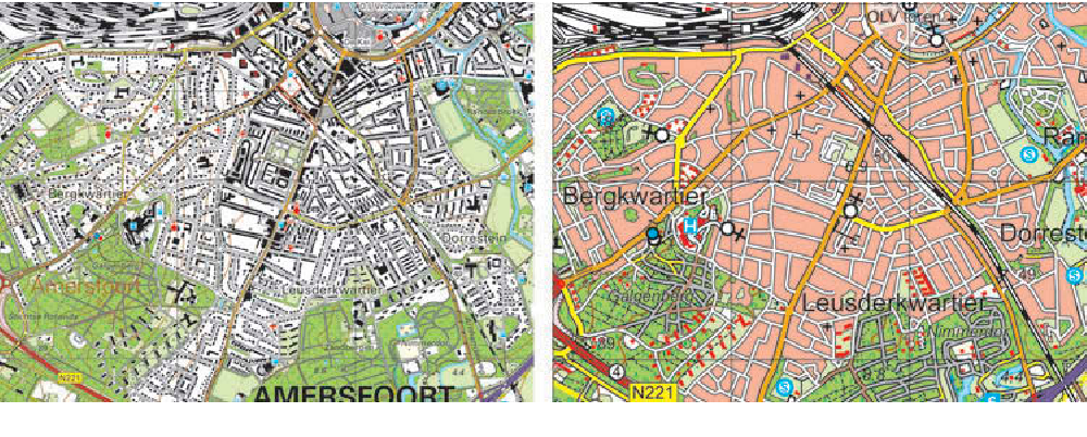 Figure 1. Source data (1:10k) and target map (1:50k) shows how much generalization needs to be applied.