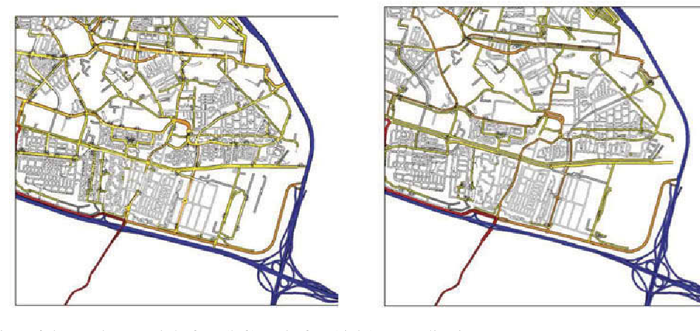 Figure 6. Thinning of the road network before (left) and after (right) generalization.