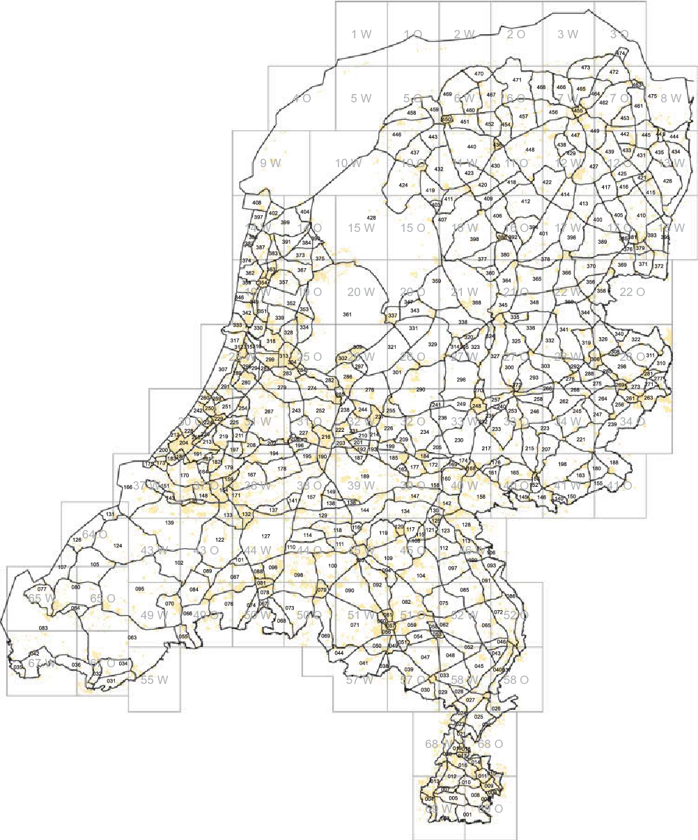 Figure 12. Partitioning of the Netherlands to enable automated generalization of a seamless map.