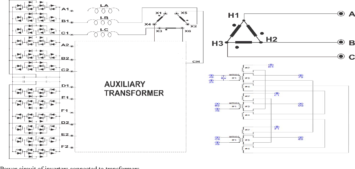Fig. 2 Power circuit of inverters connected to transformers.