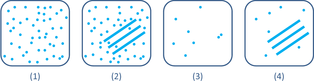 Figure 2: Various scattering scenarios per resolution cell. (1) Larger number of scatters (2) with coherent structure. (3) Small number of scatters (4) with coherent structure.