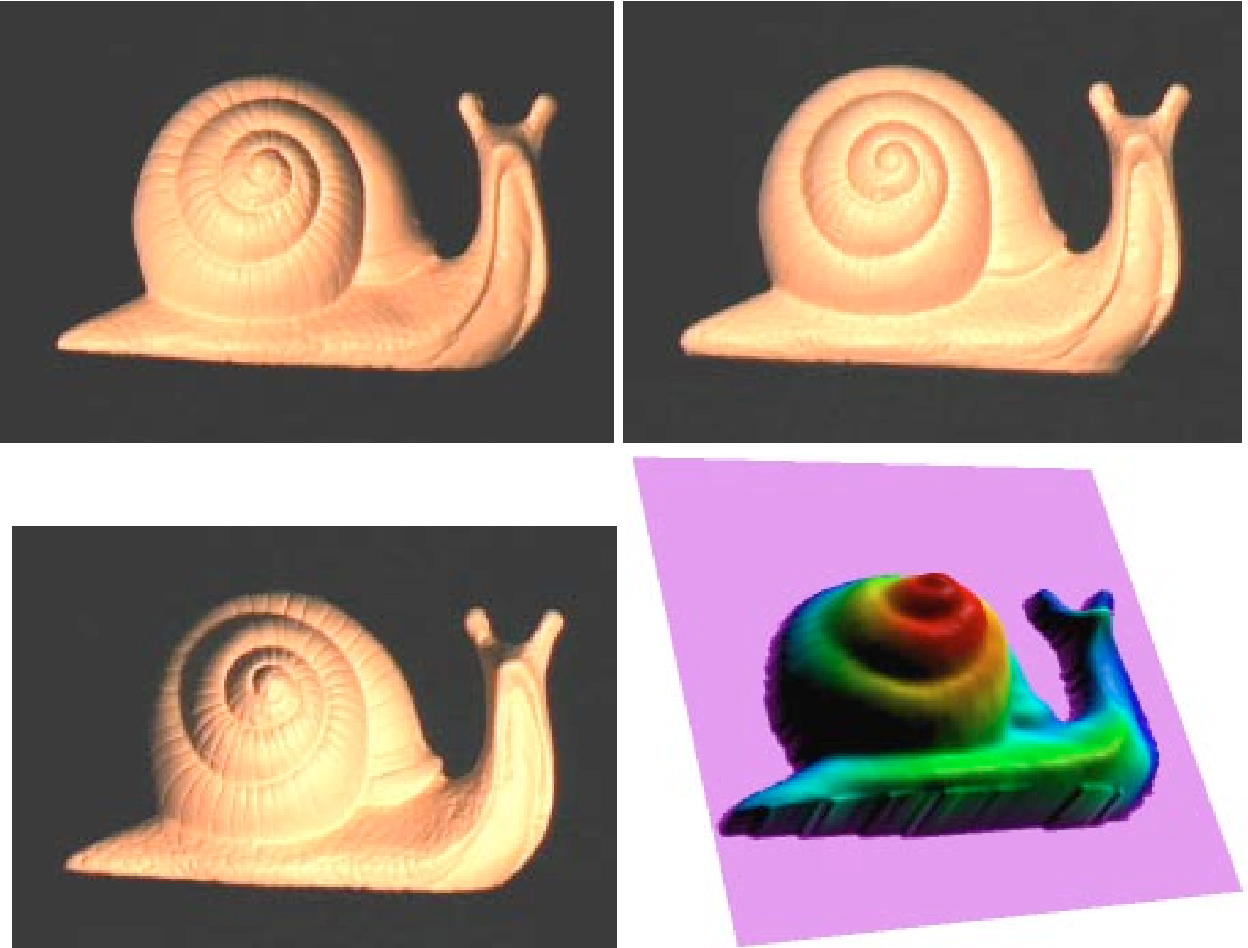 Figure 7 (Karsten Schlüns, CITR): Three input images of a snail for photometric stereo. The generated gradient field can be transformed into a height map which allows the generation of views of the given object from different directions. A special surface coloring is used to demonstrate the dynamics of the calculated height values.