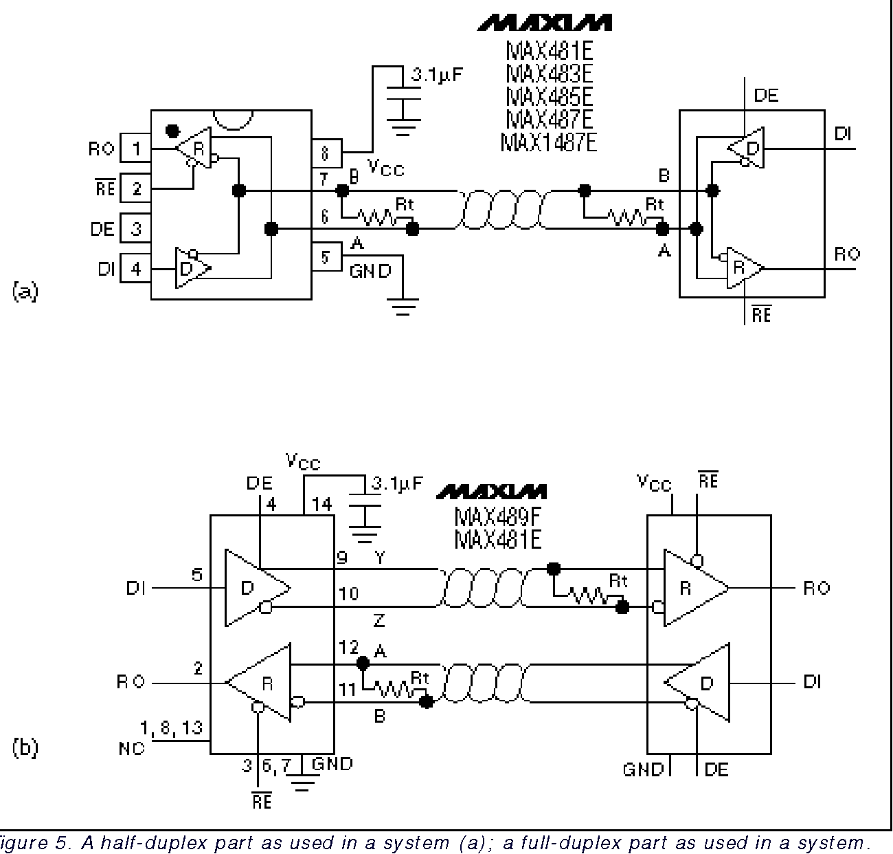 a half-duplex part as used in a system (a)