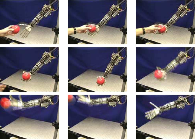 Fig. 24. Video sequence of gas-actuated prosthesis throwing a ball.