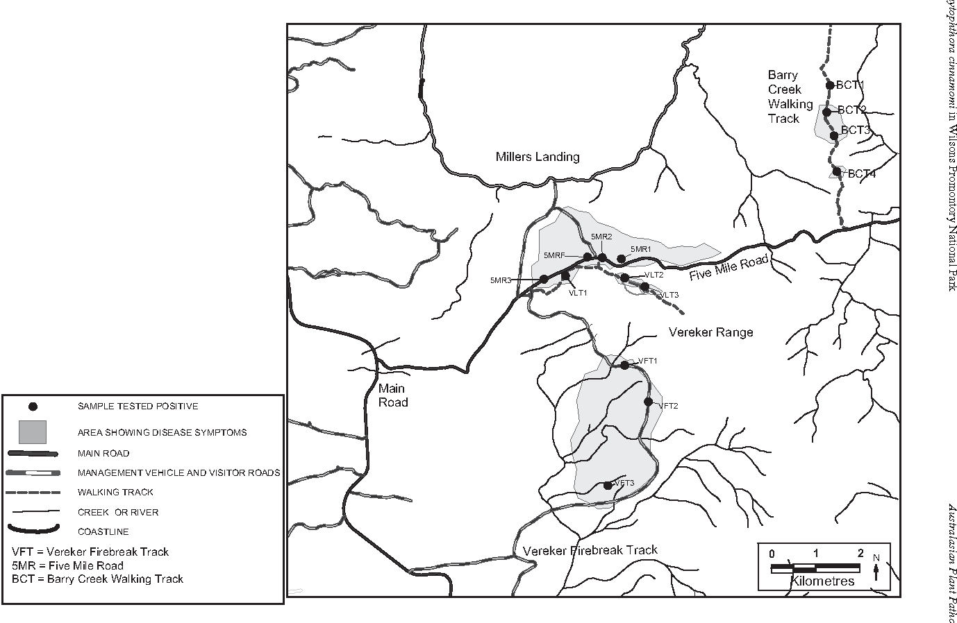 Fig. 2. Detailed map of the northern region of the Park centred on the Vereker Range showing sampling sites and areas with disease symptoms (shading). Main roads, tracks and watercourses are shown.