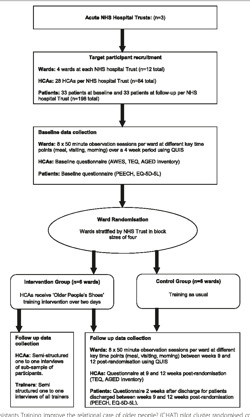 Fig. 1 Can Healthcare Assistants Training improve the relational care of older people? (CHAT) pilot cluster randomised controlled trial design