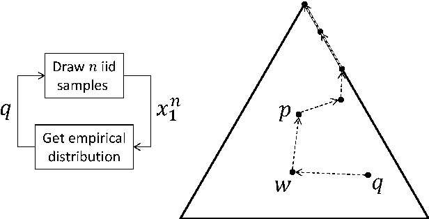 Fig. 1. (left) The Wright-Fisher process, a Markov chain on the set of types. (right) A trajectory of the Wright-Fisher process for lXI = 3 alleles plotted on the simplex. Eventually only one allele remains (