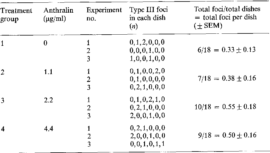 Table 1. Control transformation experiments with or without anthralin