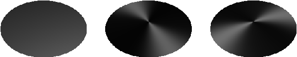 Figure 1: An example of a disk shaded with isotropic reflection (left), anisotropic reflection with circular features (center), and radial features (right).