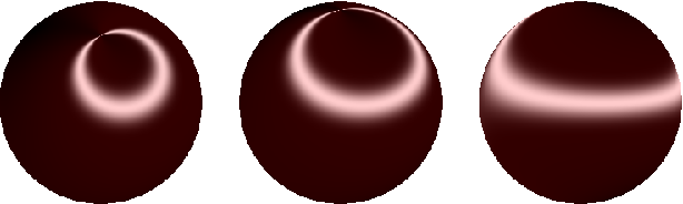 """Figure 3: A """"satin ball"""" rendered with the proposed method from three different views."""