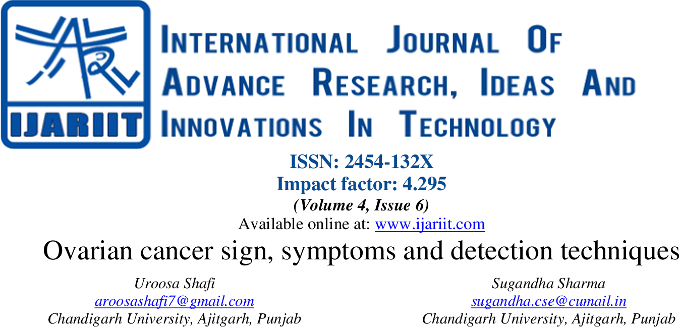 PDF] Ovarian cancer sign, symptoms and detection techniques