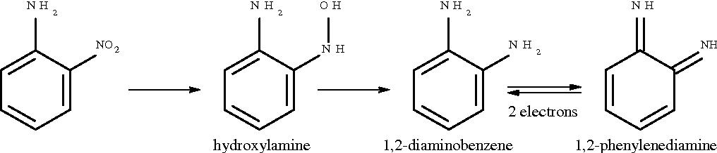 Fig. 1 Reduction of 2-nitroaminobenzene to the corresponding 1,2-diaminobenzene and then subsequent oxidation to a 1,2-phenylenediamine