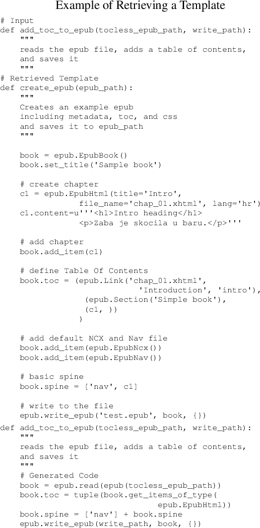 Figure 1 for Generating Code with the Help of Retrieved Template Functions and Stack Overflow Answers