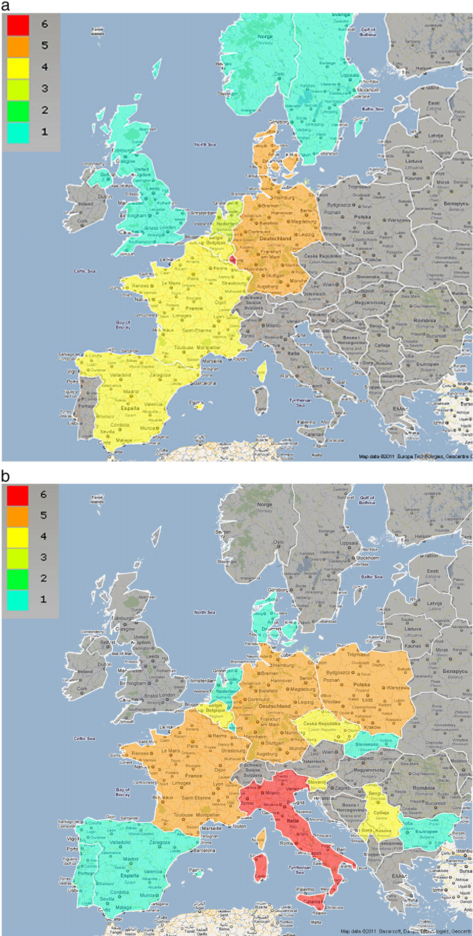 Figure 1 from plant proteomics in europe cost action fa0603 1 maps representing the countries hosting stsms a and those sending gumiabroncs Images