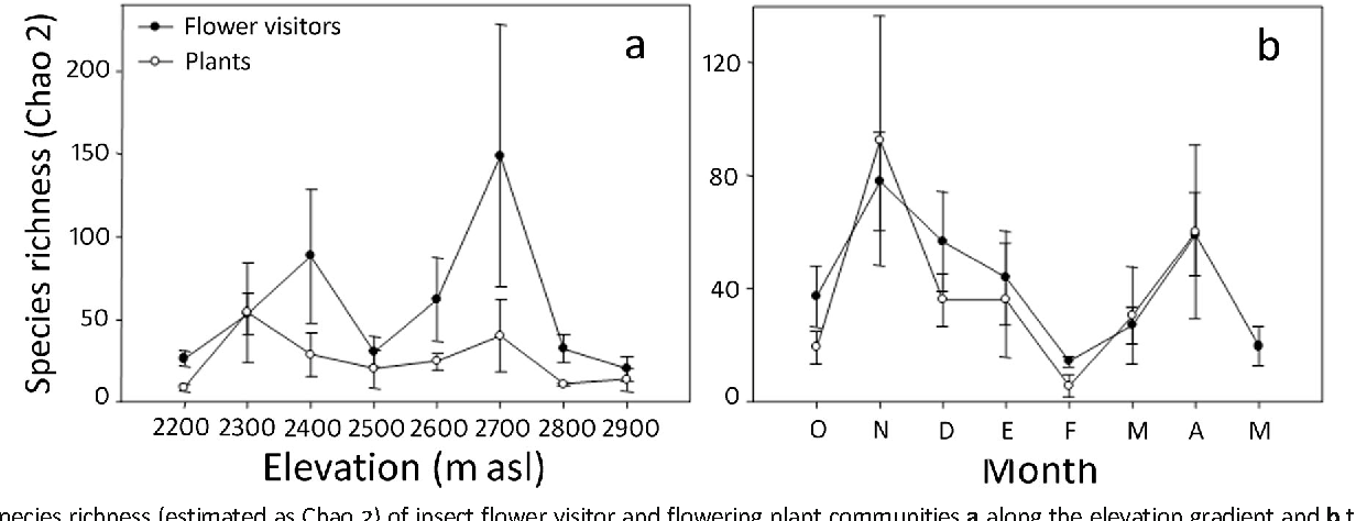 Fig 4 Species richness (estimated as Chao 2) of insect flower visitor and flowering plant communities a along the elevation gradient and b through 8 months.