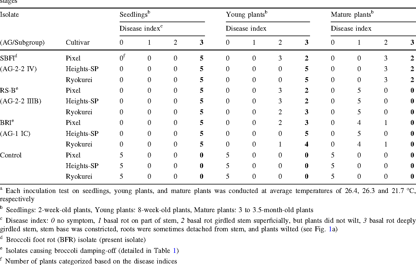 Table 3 Pathogenicity of the broccoli foot rot (BFR) isolate and broccoli damping-off pathogens to three broccoli cultivars at three growth stagesa