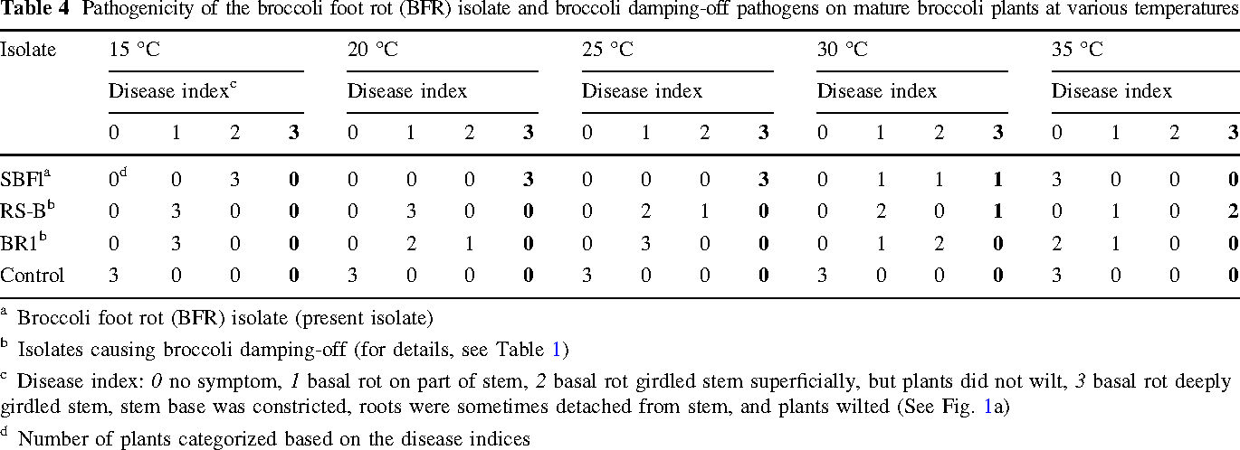 Table 4 Pathogenicity of the broccoli foot rot (BFR) isolate and broccoli damping-off pathogens on mature broccoli plants at various temperatures