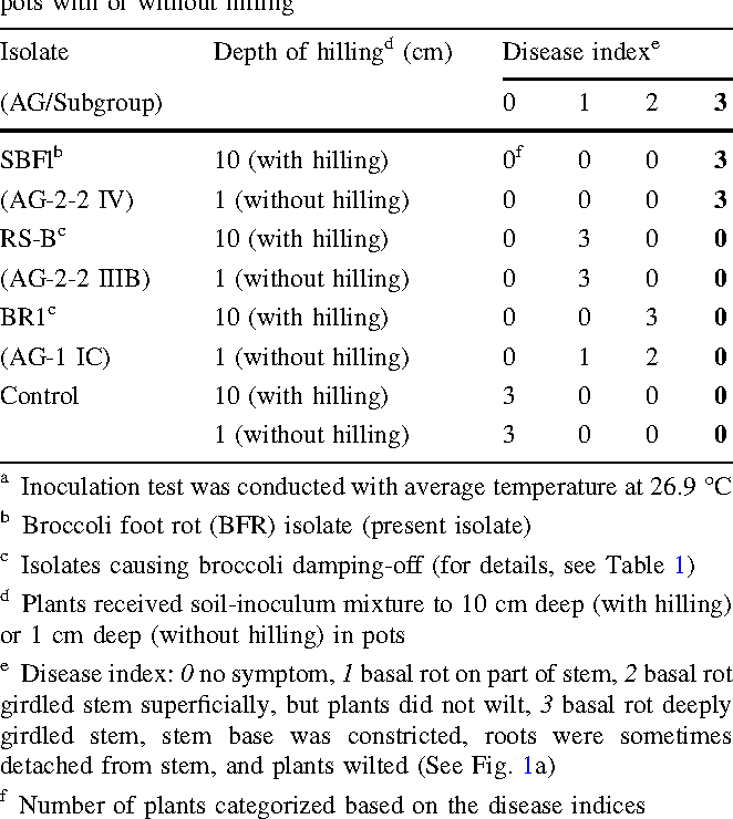 Table 5 Pathogenicity of the broccoli foot rot (BFR) isolate and broccoli damping-off pathogens to mature broccoli plants grown in pots with or without hillinga