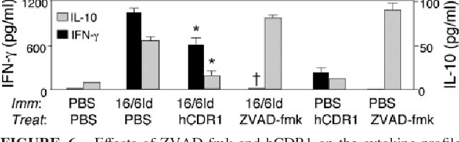 FIGURE 6. Effects of ZVAD-fmk and hCDR1 on the cytokine profile of SLE-afflicted mice. The mice from each treatment group (n 5–7 mice/ group) were evaluated individually at the end of the treatment course. Splenocytes (5 106/well) from each mouse per treatment group were incubated in enriched medium for 48 h in the presence of 16/6Id, and the content of cytokines in the supernatants was measured by ELISA. Mean values (pg/ml SE) are presented. , p 0.05; †, p 0.001 as compared with SLE-afflicted mice that were treated with PBS.