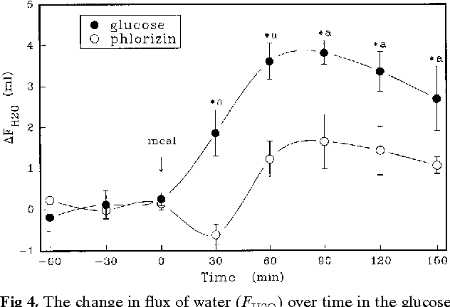Fig 4. The change in flux of water (FH2O) over time in the glucose and mannitol groups. * P , 0.05 as compared to basal absorption. a P , 0.05 as compared to the mannitol group.