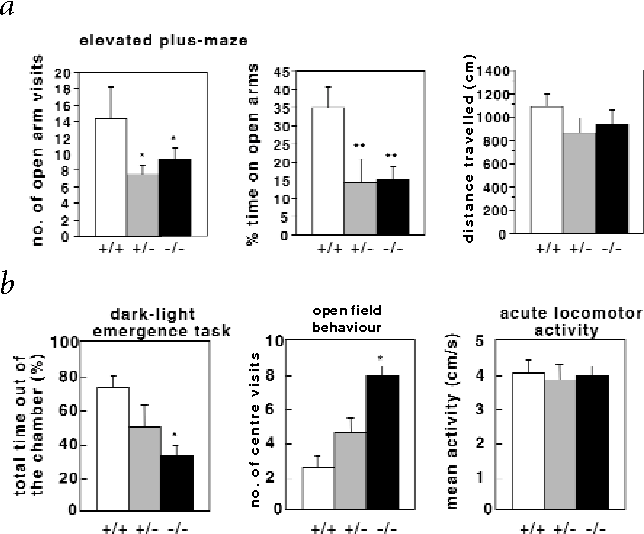 Fig. 2 Anxious behaviour of Crhr2-deficient male mice. a, Behaviour of male wildtype, Crhr2+/– and Crhr2–/– mice in the elevated plus-maze test. The number of animals per group in the elevated plus-maze test was 13 wild-type, 8 Crhr2+/– and 11 Crhr2–/– mice. Crhr2–/– and Crhr2+/– male mice displayed a significantly reduced number of open-arm visits (significance level F2,29=5.192, P<0.05) and spent less time (F2,29=6.212, P<0.01) in the open arms of the maze. Statistically significant differences: *P<0.05, **P<0.01 versus wild-type mice. b, Behaviour of male wildtype, Crhr2+/– and Crhr2–/– mice in the dark-light emergence task, open-field and acute locomotor activity test (n=9–11 mice per group). Crhr2–/– mice spent significantly less time outside the chamber (significance level F2,22=2.383, P<0.05) and exhibited significantly higher latency to enter the open-field (F2,22=3.1, P<0.05; latency, 5±2.1 s for wild type, 12±3.9 s for Crhr2+/– and 25±6.4 s for Crhr2–/–) than wild-type mice. In addition, Crhr2–/– mice visited the centre region of an openfield more frequently (F2,20=4.15, P<0.05) than the controls. There were no significant genotype differences in locomotor activity.