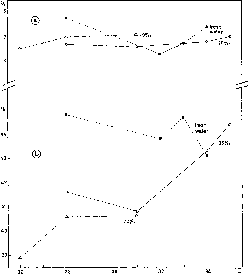 Fig. 3: Orbit length (a) and caudal peduncle length (b) of newly hatched C. rnacularius expressed as percentages of their total length. Average values based on 6 to 8 individuals in e a ~ case