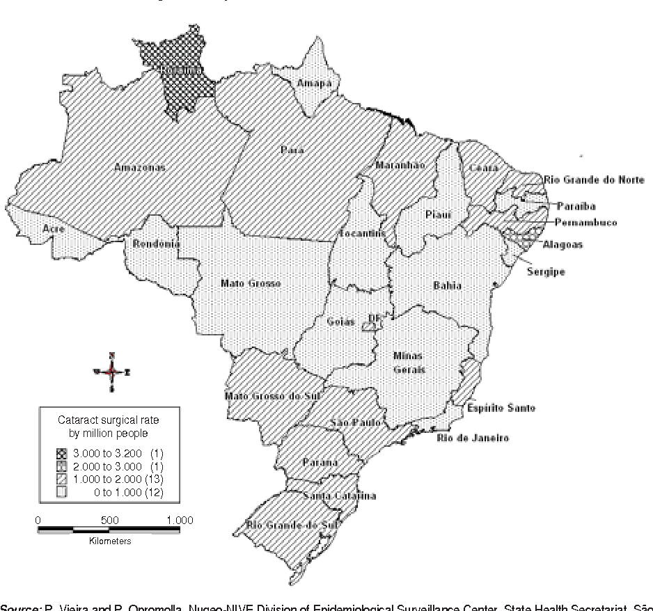 FIGURE 1. Cataract surgical rate per state, Brazil, 2007