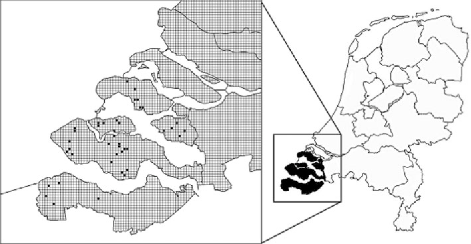 Fig. 1 Locations of the 40 farms where field margins (sometimes one, but mostly two per farm) were studied in the province of Zeeland (black in the map of the Netherlands)