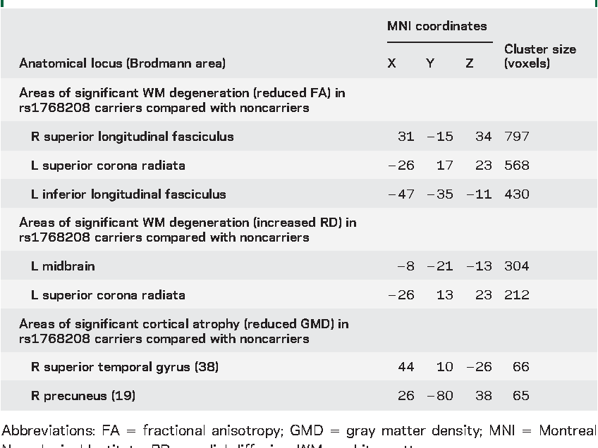 Table 3 Direct comparison of MRI findings of neurodegeneration between rs1768208 risk allele carriers (CT/TT) and noncarriers (CC)