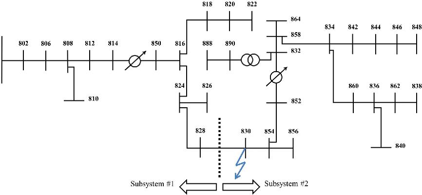 Figure 13. IEEE 34 bus test system.