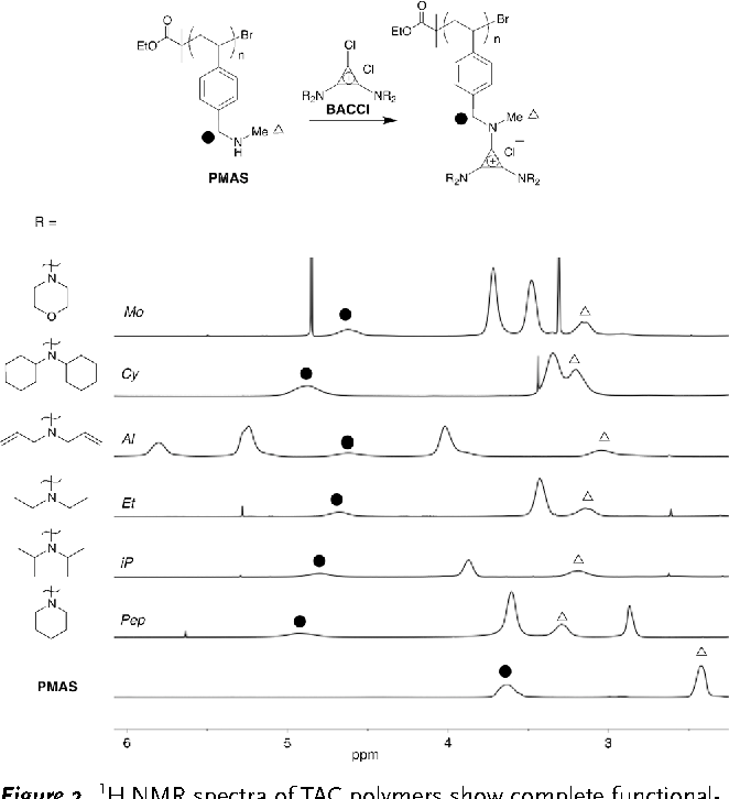 Figure 2. 1H NMR spectra of TAC polymers show complete functionalization of PMAS with BACCl ClickabILs bearing various alkyl substituents. Full NMR spectra are available in the Supporting Information.