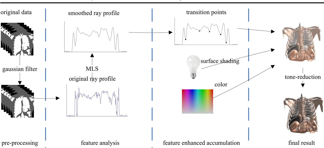 Accumulation of local maximum intensity for feature enhanced