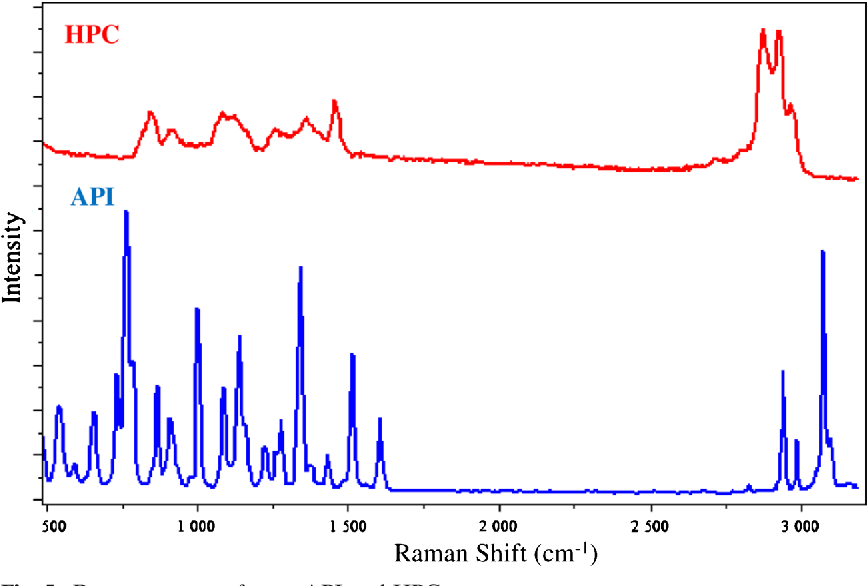 Fig. 5. Raman spectra of pure API and HPC