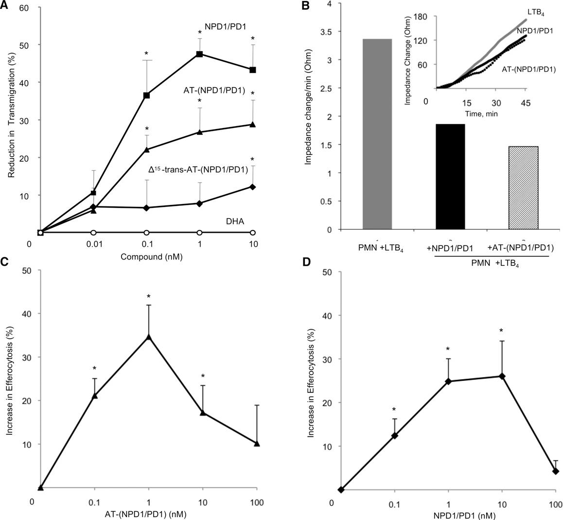 Figure 6. AT-(NPD1/PD1) Limits Human PMN Transmigration Across Human Endothelial Cells and Enhances Human Macrophage Efferocytosis of Apoptotic Human PMNs
