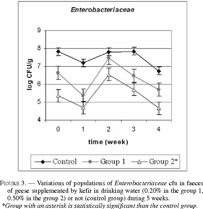 FIGURE 3. — Variations of populations of Enterobacteriaceae cfu in faeces of geese supplemented by kefir in drinking water (0.20% in the group 1, 0.50% in the group 2) or not (control group) during 5 weeks.