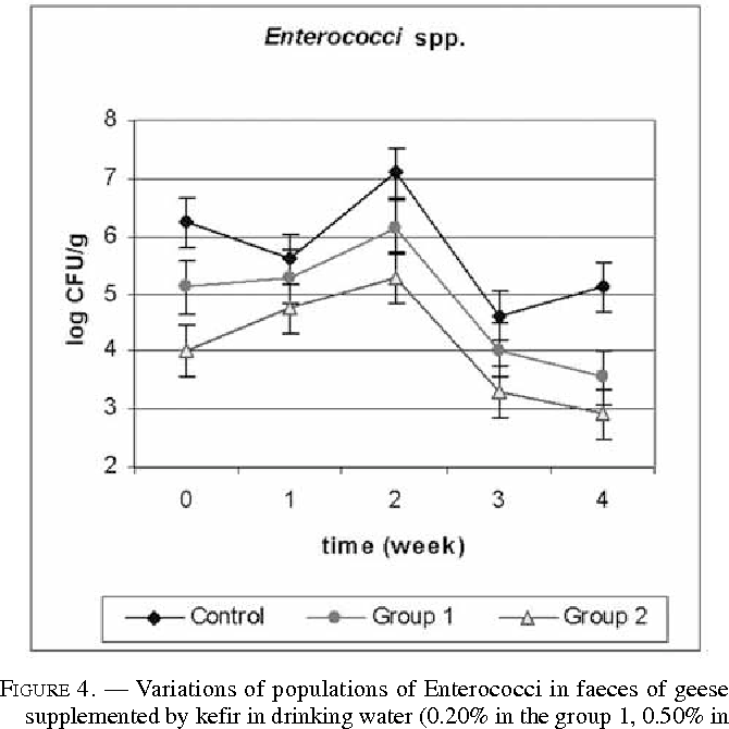 FIGURE 4. — Variations of populations of Enterococci in faeces of geese supplemented by kefir in drinking water (0.20% in the group 1, 0.50% in the group 2) or not (control group) during 5 weeks.