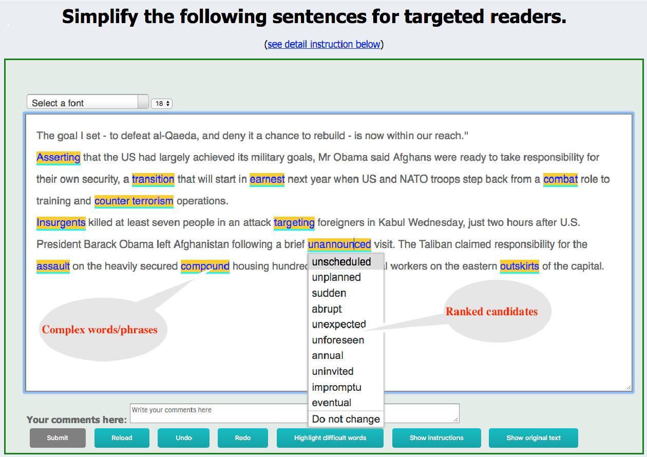 Figure 1 for Par4Sim -- Adaptive Paraphrasing for Text Simplification