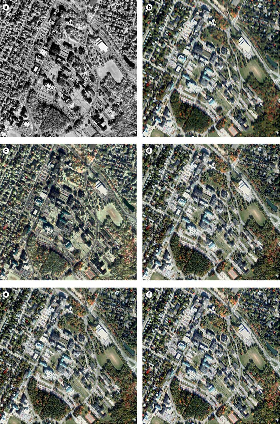 Figure 3 From Color Transfer Based Remote Sensing Image Fusion Using The Which Needs To Be Sensed By Sensor Is Selected Results Of Different Algorithms A Source Panchromatic