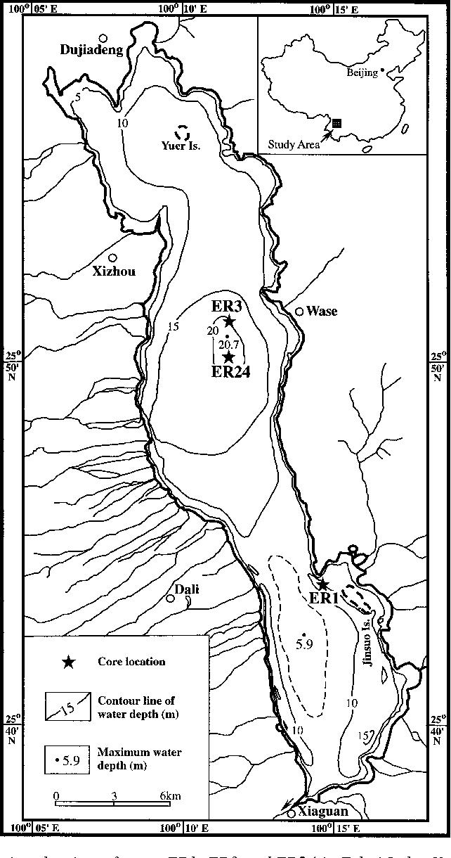 Fig. 1. Location map showing the sites of cores ER1, ER3 and ER24 in Erhai Lake, Yunnan Province, SW China.