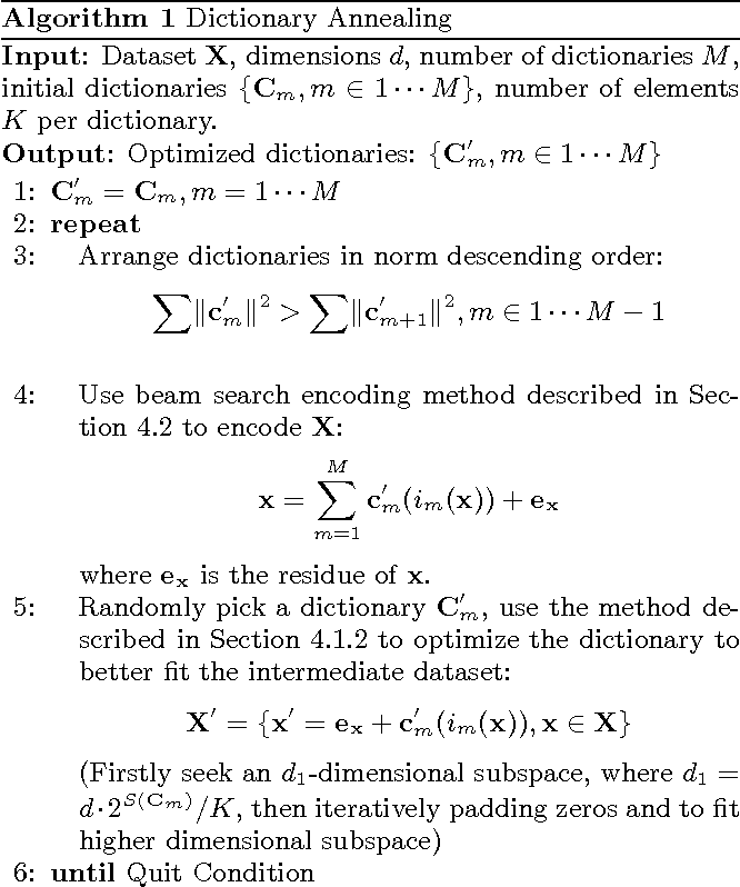 Figure 3 for Learning Better Encoding for Approximate Nearest Neighbor Search with Dictionary Annealing