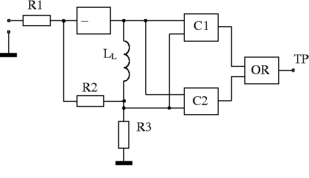 block diagram of the transient process pulse shaper with comparators  connected to