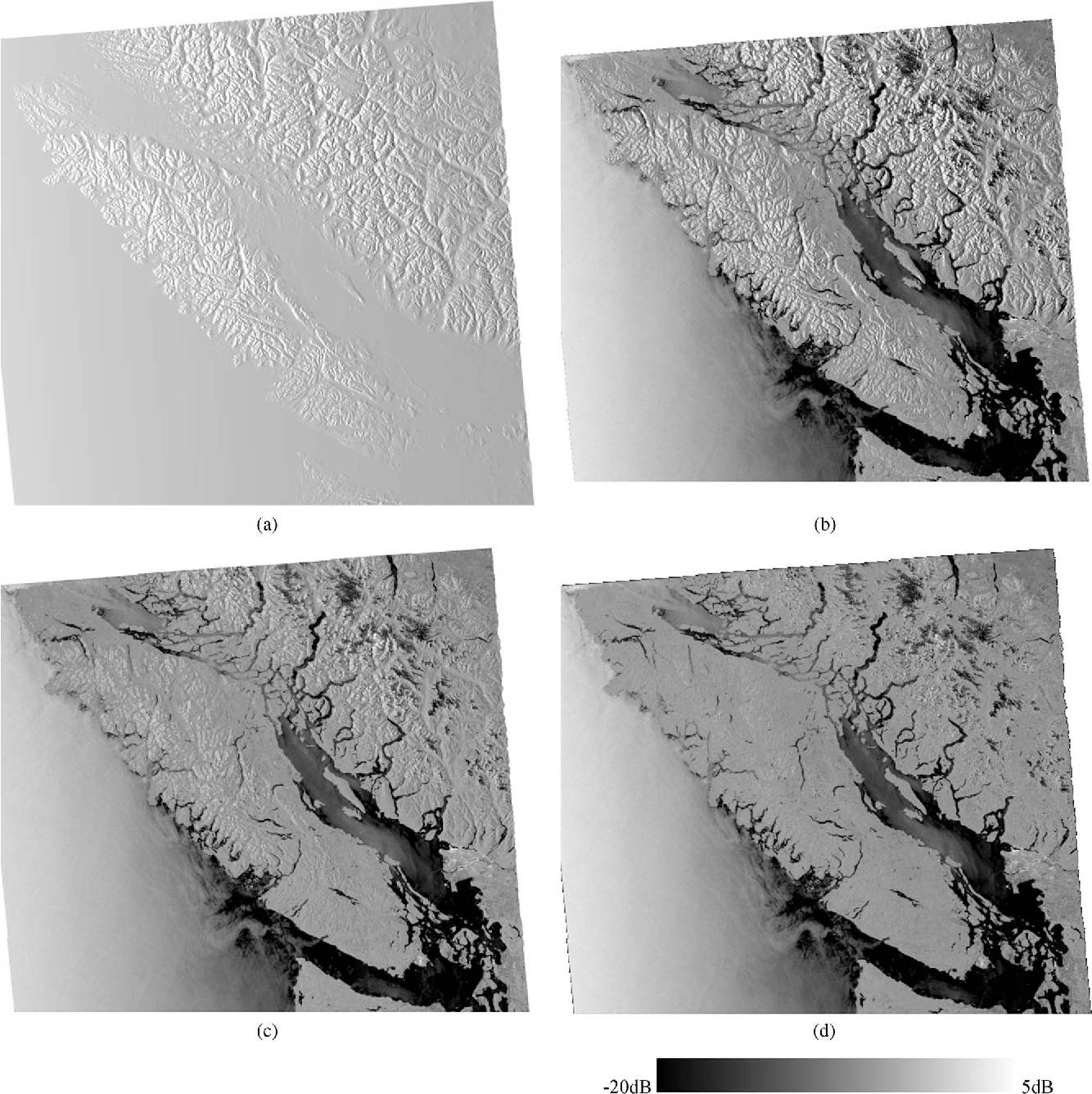 Fig. 9. ENVISAT ASAR Wide Swath VV Image acquired on 2008.09.10 of Vancouver Island and southwestern British Columbia, Canada—SRTM3 DHM used for terrain-geocoding and radiometric corrections. (a) Local contributing area Aγ (image simulation), (b) γ0E GTC, (c) σ 0 NORLIM NORLIM, (d) γ 0 T RTC.