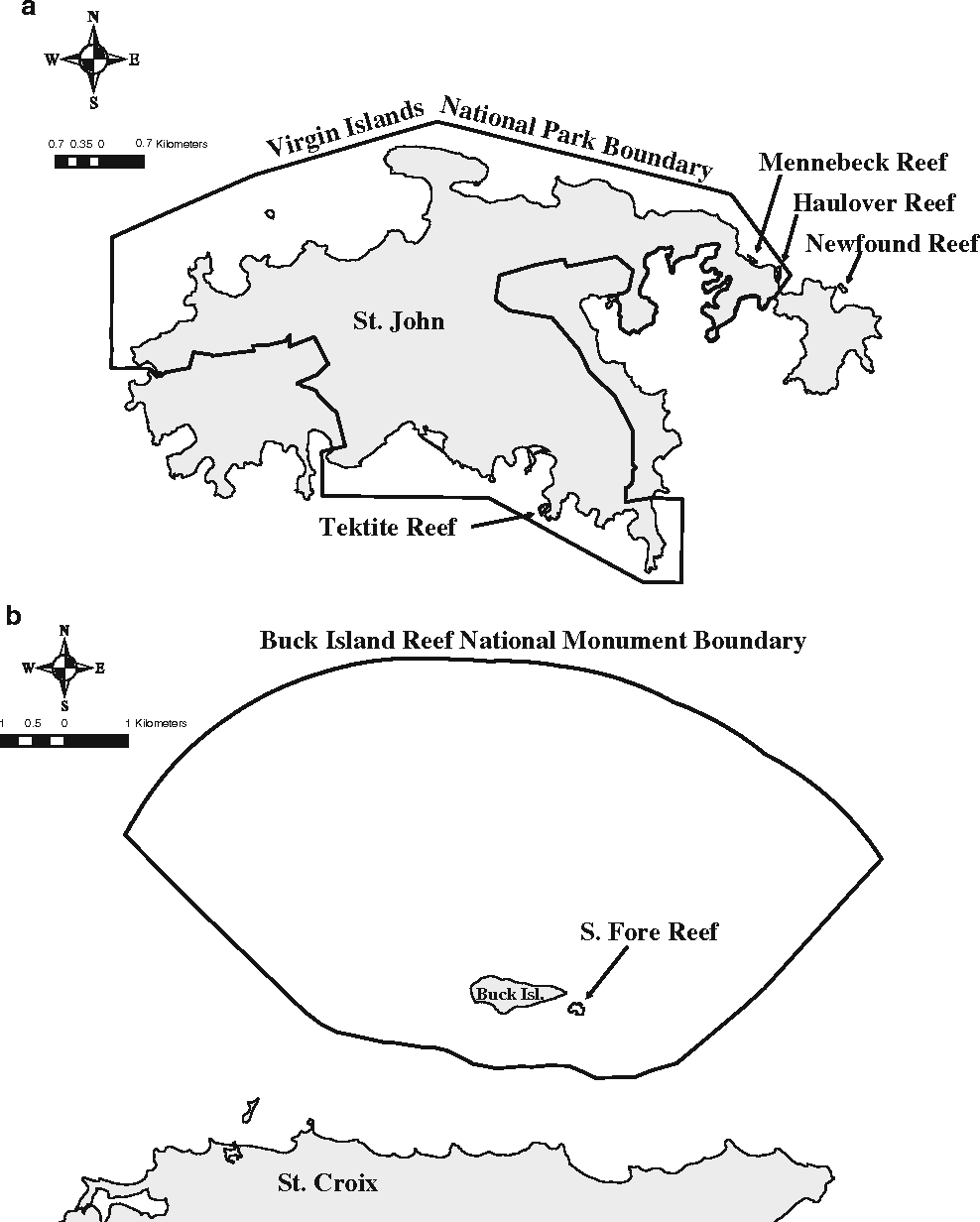 Fig. 1 Map of study locations from a St. John and b St. Croix