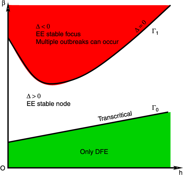 Figure 2. Bifurcation diagram for case a1 ¼ a3 ¼ 0,a2 . 0. G1 denotes the curve D(h,b) ¼ 0 defined in (3.4). Multiple outbreaks may occur for the parameters above the curve G1.
