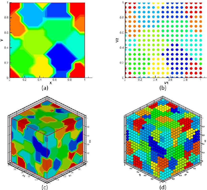 Figure 4.1: (a) The image representation of a 2D polycrystalline microstructure containing 10 grains. (b) The pixel grid of the 10- grain 2D microstructure. The microstructure is discretized by 16 × 16 pixels. (c) The image representation of a 3D polycrystalline microstructure containing 64 grains. (b) The voxel grid of the 64-grain 3D microstructure. The microstructure is discretized by 16 × 16 × 16 voxels.