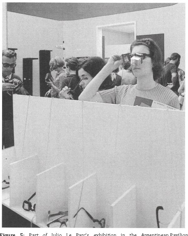 Figure 5: Part of Julio Le Parc's exhibition in the Argentinean Pavilion, Venice Biennial, 1966. Installation view. Source: Arnauld Pierre et al., Julio Le Parc (Paris: Skira Flammarion, 2013).