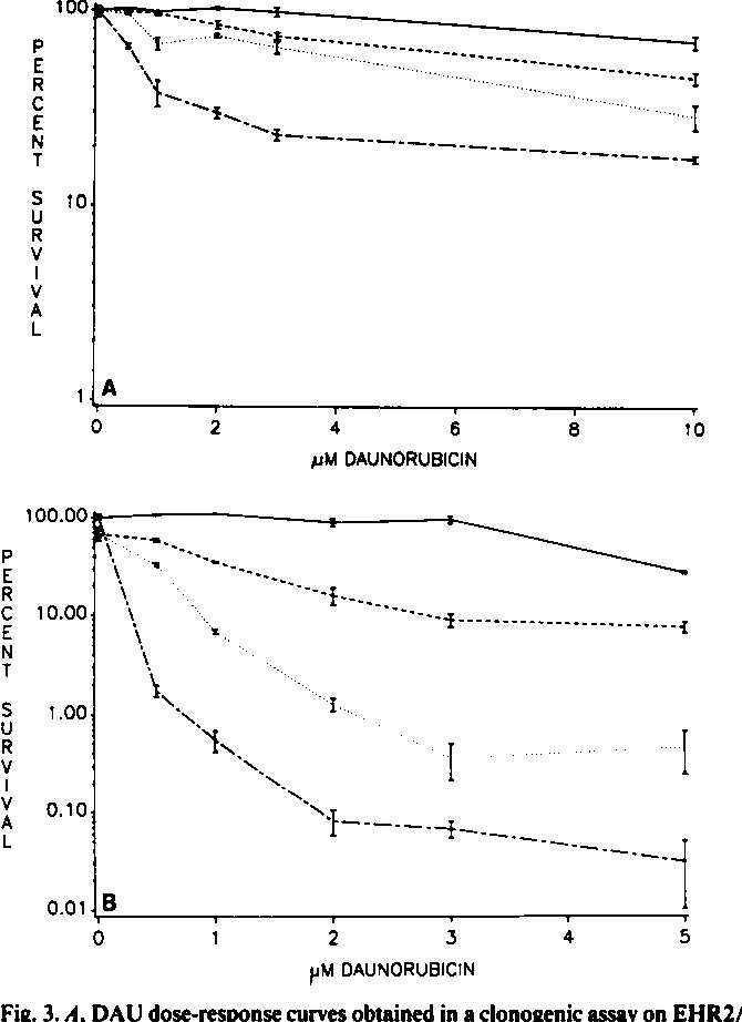 Fig. 3. l. DAU dose-response curves obtained in a clonogenic assay on EHR2/ DNR+ cells incubated for 1 h. , DAU alone; , DAU + 1.0 »iMACLA;